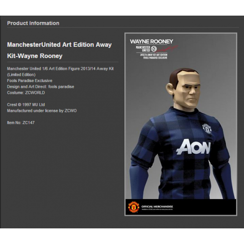 ef67dc81f53 Manchester United 1/6 Scale Collectible Action Figurines WAYNE ROONEY Art  Edition Away Kit